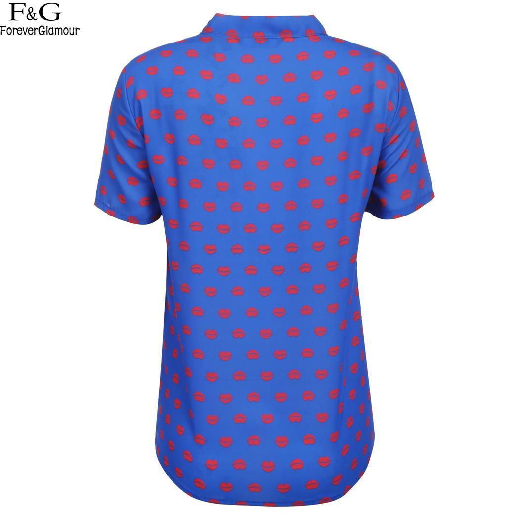 Tie Stand Bow Women Neck Short Sleeve Lip Print Blouse Shirt Tops
