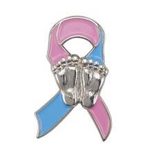 Значок на лацкан из розовой и синей ленты тему беременности