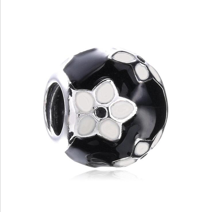 100%925 Sterling Silver Round beads summer enamel mysterious Flowers DIY accessorie Fits Pandora Style Bracelets jewelry making