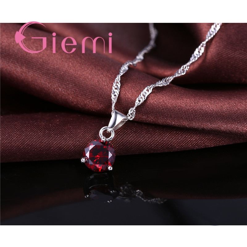 8 Colors 925 Sterling Silver Wedding Elegant Jewelry Sets Crystal Pendant Collar Necklace Earrings Women Decoration Set 3