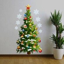 Moda Decoración De La Navidad Etiqueta de La Pared Verde Pino De Navidad Diseño Nursery Etiqueta Del Vinilo Para El Sitio Del Niño de Pared Escaparate de Cristal