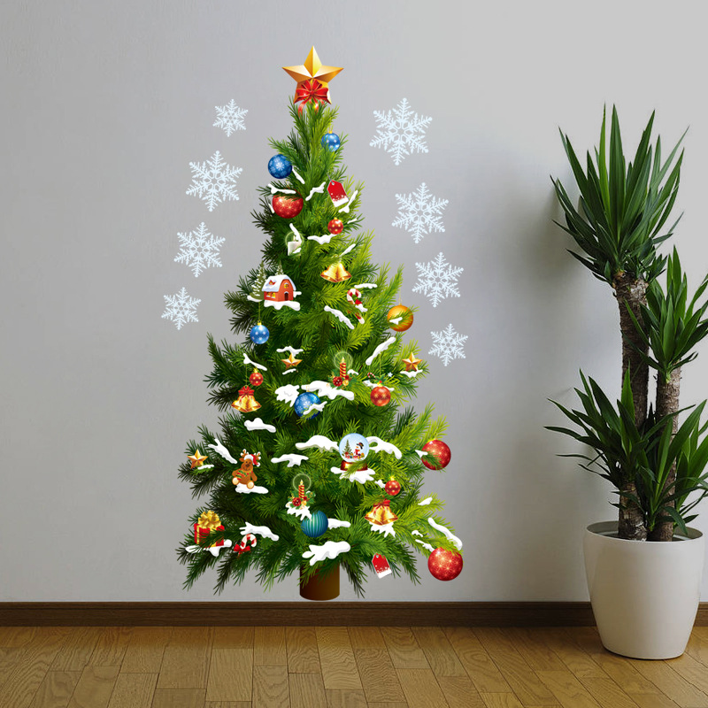 Fashion Christmas Decoration Wall Sticker Green Christmas Pine Tree Design Vinyl Decal For Kid Room Wall Showcase Glass Nursery