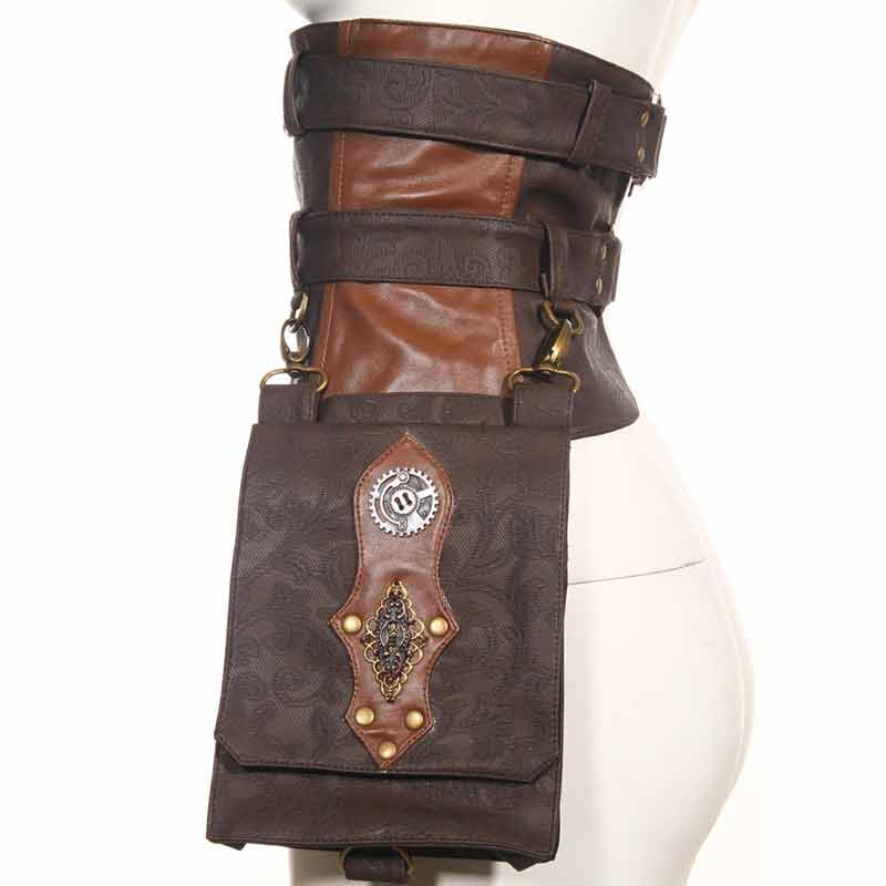 Retro Brown Leather Steampunk Waist Belt Bags Unisex Halloween Cospaly Gothic Corset Corset Accossories