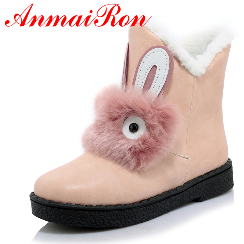 ФОТО ANMAIRON New Fashion Ankle Winter Boots for Women Slip-On Round Toe Flat With Fashion Charm Lady Black Shoes Large Size 34-45