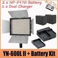 YONGNUO YN600 YN600L II CRI 95 LED Panel Luz de Vídeo + Control Remoto inalámbrico + 2 x NP-F970 Batería + Dual cargador