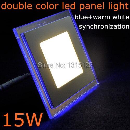 15 Вт квадратной формы AC85-265V двойной цвет (синий + теплый) акрил SMD3528 Светодиодные панели для потолка Кухня Бесплатная доставка