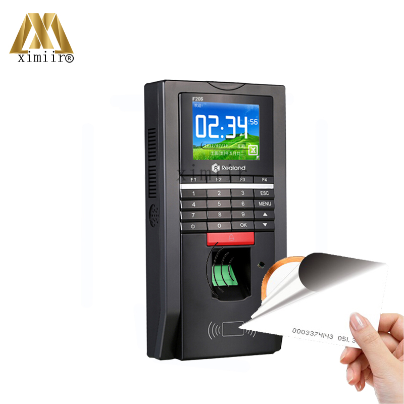 New Arrival Color Screen TCP/IP Fingerprint Access Control And Time Attendance With 125KHZ RFID Card Reader Realand F20 hot selling 3 high speed good quality 30000 user capacity color screen time attendance time clock m200 with tcp ip rj45