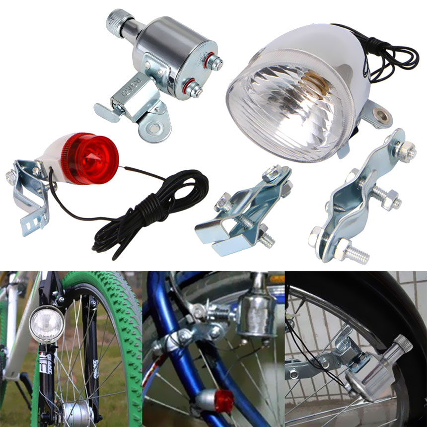 Motorized Taillight Headlight Kit Bicycle Friction Generator Dynamo Bike Head Tail Light LED Lamp MTB Mountain Cycling 12V6W M25