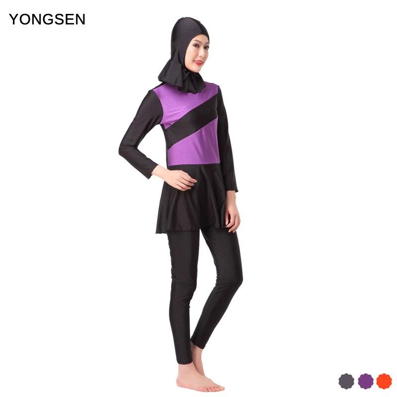 YONGSEN Nové Modest islámské plavky Foral Patchwork plavky Ženy Hijab Burkinis šaty Full Cover plavky Muslimské plavky  t