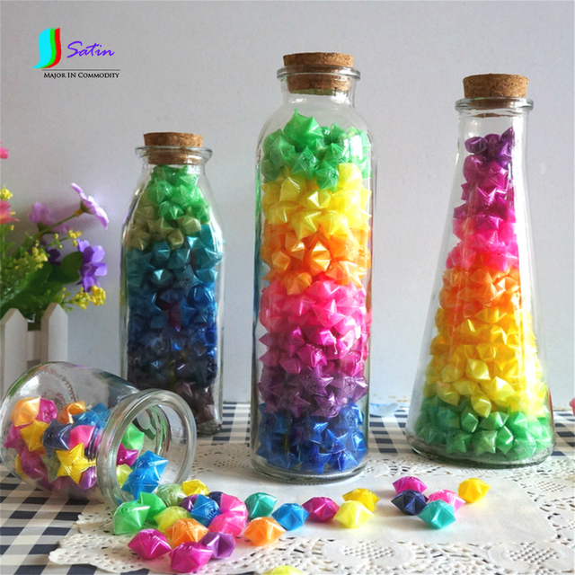 Mixed Pearl Color Plastic Pipe Origami Lucky Stars Hand Finished DIY Star Male Female