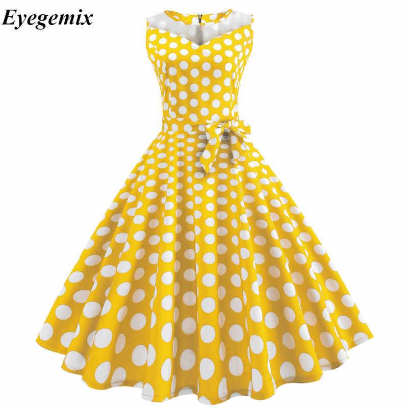 d38c559a460 White Polka Dot Summer Dress Women Lace Patchwork Retro Swing Sundress 50s  60s Elegant Vintage Rockabilly