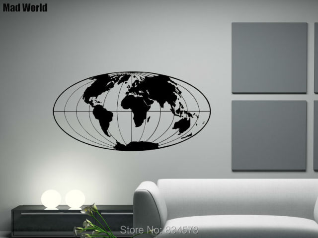 mad world planet earth geographical globe world map wall art stickers wall decal home decoration