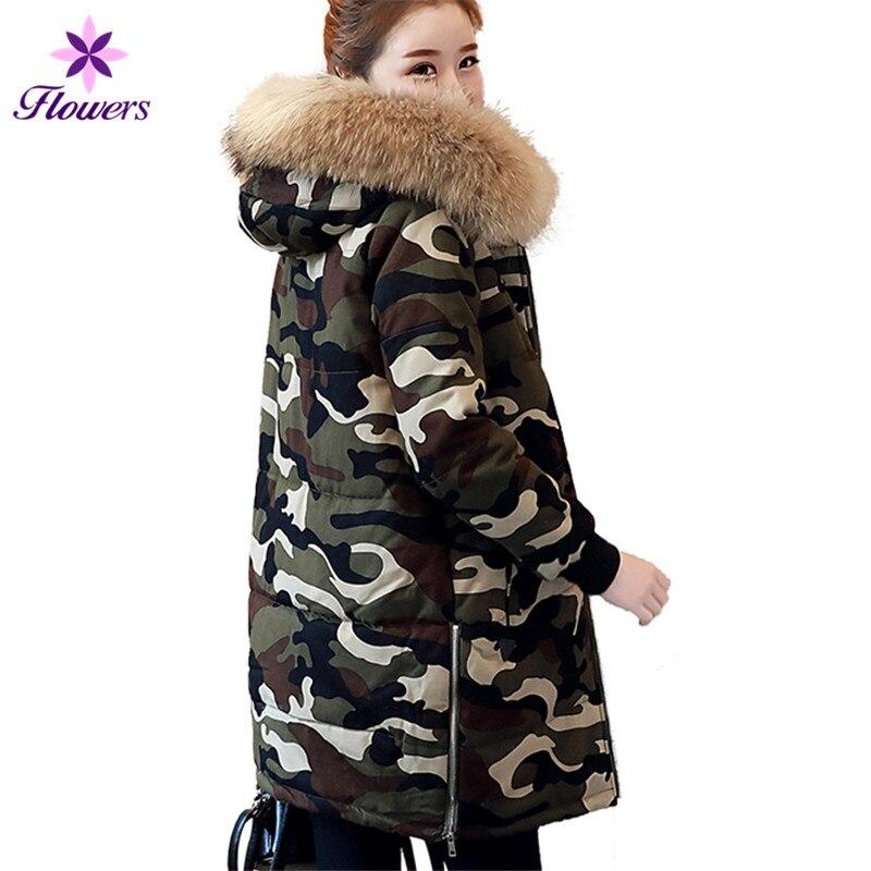 Nouvelle Chaud coréen Long Lâche Manteau Plus Coton Épais Femmes Parkas D'hiver La Femelle Lq366 Camouflage Taille Vêtements Veste fFzw5z4q