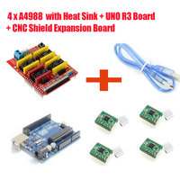 Free Shipping 4 X A4988 Stepper Motor Driver With Heat Sink UNO R3 Board CNC Shield