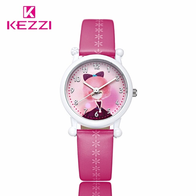 New ArrivalsKezzi Cartoon Children Casual Cute Girls Pattern Color Leather Watch Strap Sweet Style Wa tch Clock Quartz Watch