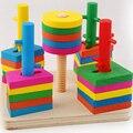 Montessori Juguetes Para Bebés Para Niños Un Juego De Torre de Juego de Geometría Columna de La Primera Infancia Educativos Para niños De Madera de Apilamiento