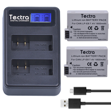 Tectra 2PCS LP-E8 LPE8 LP E8 Li-ion Digital camera Battery + LCD USB Twin Charger For Canon EOS 550D 600D 650D 700D