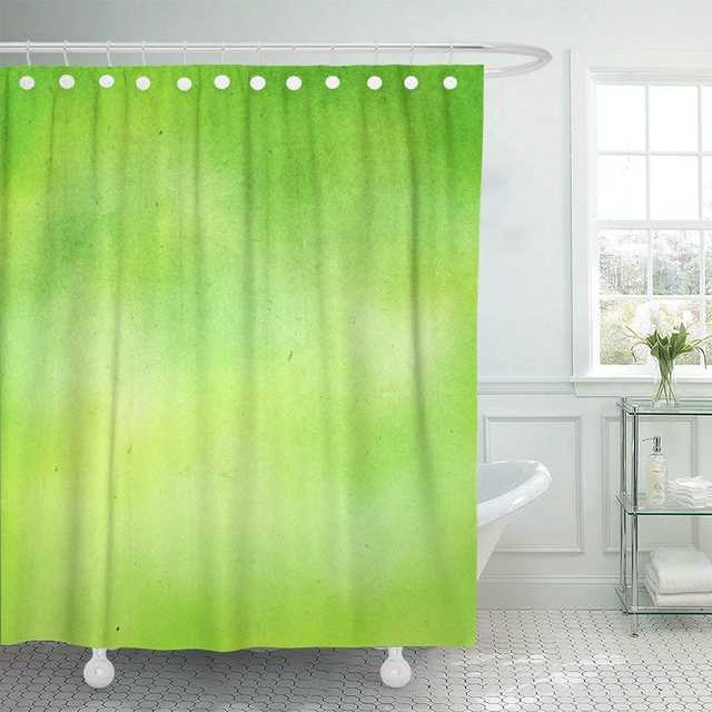 Shower Curtain With Hooks Watercolor Lemon Grunge Green Lime Water