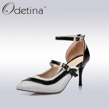 Odetina Elegant Ladies White Pointed Toe Stiletto Heel Pumps Women Ankle Straps Mary Jane Pumps Women High Heels Dress Shoes