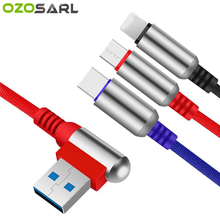 3 in 1 USB Cable Aluminum Alloy 90 Degree Micro Type C for Huawei Xiaomi Redmi Samsung iPhone XR XS MAX