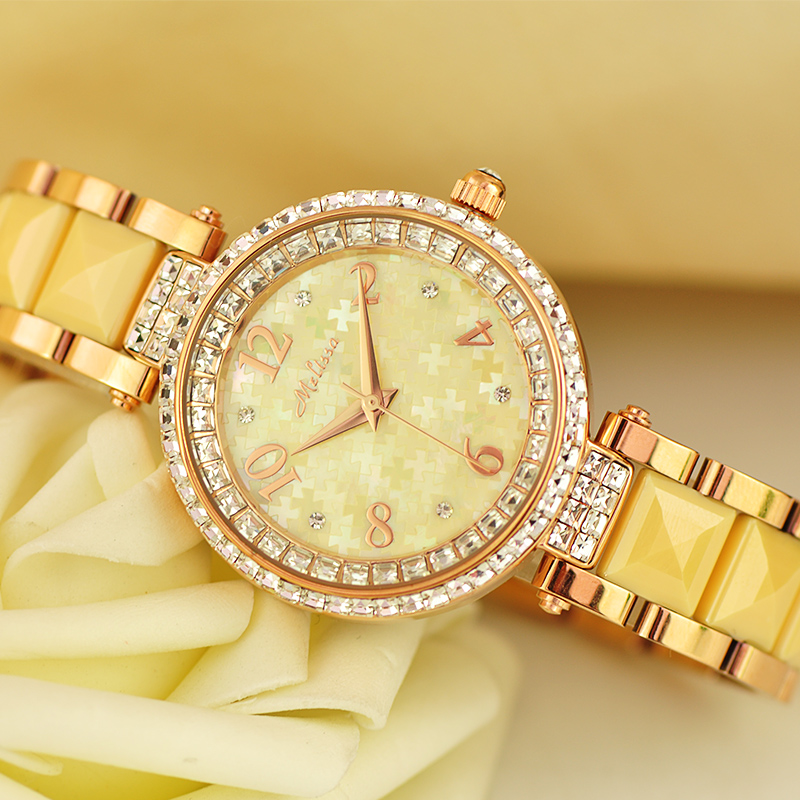 Melissa Lady Women's Watch Hours Japan Quartz Top Fashion Dress Ceramic Bracelet Shell Jigsaw Luxury Rhinestones Crystal Gift цена