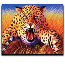 Diamond Cross stitch animal cross / square mosaic Full of Photos by numbers Embroidered diamond Angry leopard
