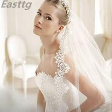 3 미터 흰색 아이보리 대성당 긴 결혼식 베일 레이스 가장자리 빗 웨딩 액세서리와 신부 베일 Veu de Noiva