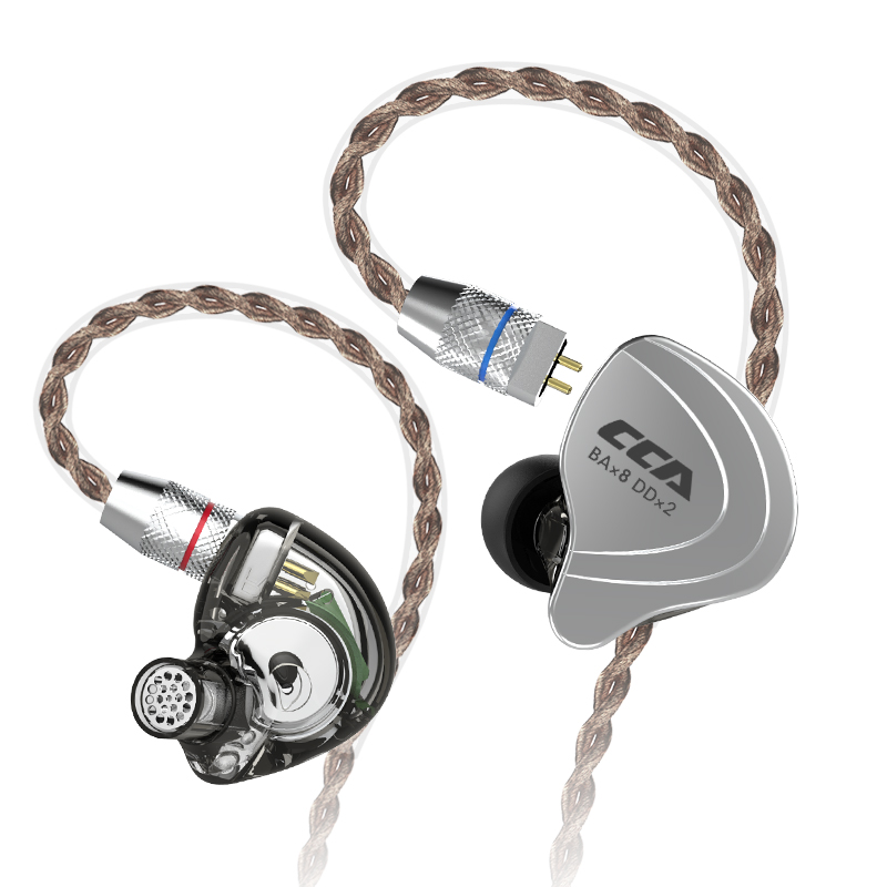 CCA C10 4BA+1DD Hybrid In Ear Earphone HIFI DJ Monito Running Sports Earphone 5 Drive Unit Headset Detachable Detach 2PIN Cable slip-on shoe