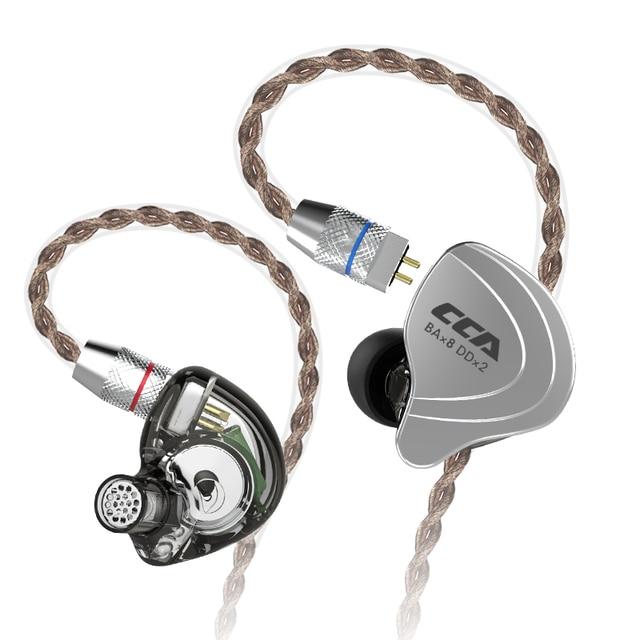 CCA C10 4BA + 1DD ハイブリッドで耳イヤホンハイファイ DJ Monito ランニングスポーツイヤホン 5 ドライブユニットヘッドセット着脱式デタッチ 2PIN ケーブル