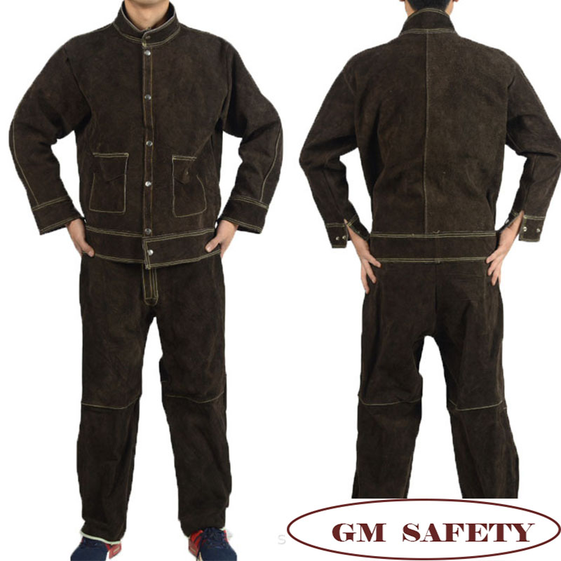 Image 5 - Cow Leather Electric Welding Work Clothes Cowskin Suit for Welders Soldering Protective Work Jackets Men  NL001-in Safety Clothing from Security & Protection