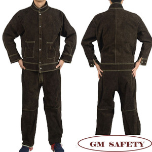 Image 5 - Cow Leather Electric Welding Work Clothes Cowskin Suit for Welders Soldering Protective Work Jackets Men  NL001