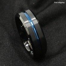 8mm carburo tungsten anillo negro cepillado franja azul de la venda de boda joyería de los hombres envío gratis