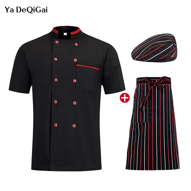News Short Sleeve Chef Work Clothes Chef Restaurant Uniforms Double Breasted Breathable Catering Jacket Men And Women Chef Hat