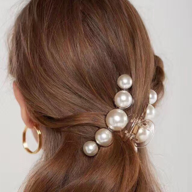 Luxury Trendy Pearls Hairpins Hair Ornaments Simple Shiny Big Pearls Acrylic Crab Hair Claws For Women Girl Accessories Headwear