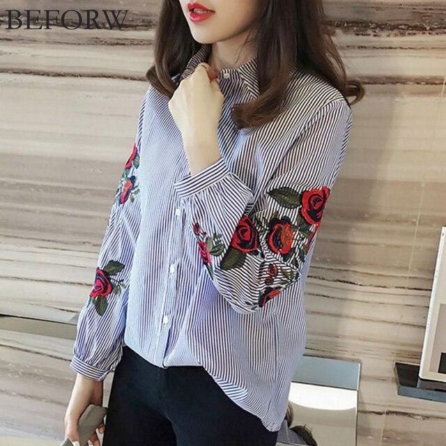 BEFORW осень Лето рубашка женская мода одежда для женщин блузка Роза печать рубашки женские белый Женские топ рубашка Длинный рукав Вышивка блузки рубашки Шифоновые блузки