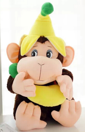 Banana Monkey / cute plush toy / doll pillow creative banana shaped plush doll toy with sound effect for pet yellow