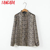 Tangada Spring Vintage Leopard Shirts Long Sleeve Sexy Lace Blouse Korean Style Retro Ladies Womens Tops Blusas XZ09