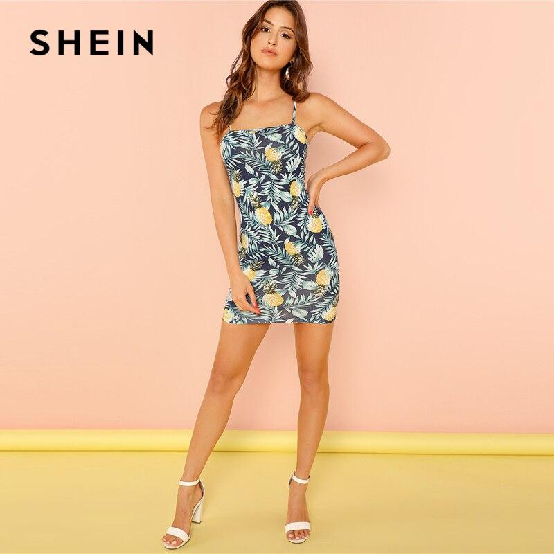 38c5622b18 SHEIN Allover Pineapple Tropical Print Cami Dress Multicolor Sleeveless  Sheath Mini Dresses Women Summer Vacation Beach Dress-in Dresses from  Women's ...