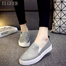 New Korean womens shoes Muffins with thick-soled feet Feet Flash sequins Canvas Love Black Silver Gray