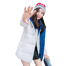 Фотография 2017 New Winter Jacket Women Hooded Thicken Coat Female fashion Warm Outwear Down Cotton-Padded Long Wadded Jacket Coat Parka