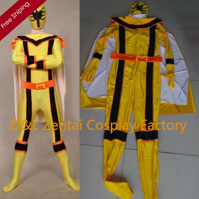 Free Shipping DHL Real Adult Superhero Yellow Lycra Zentai Suit Halloween Costume PR1507-in ...