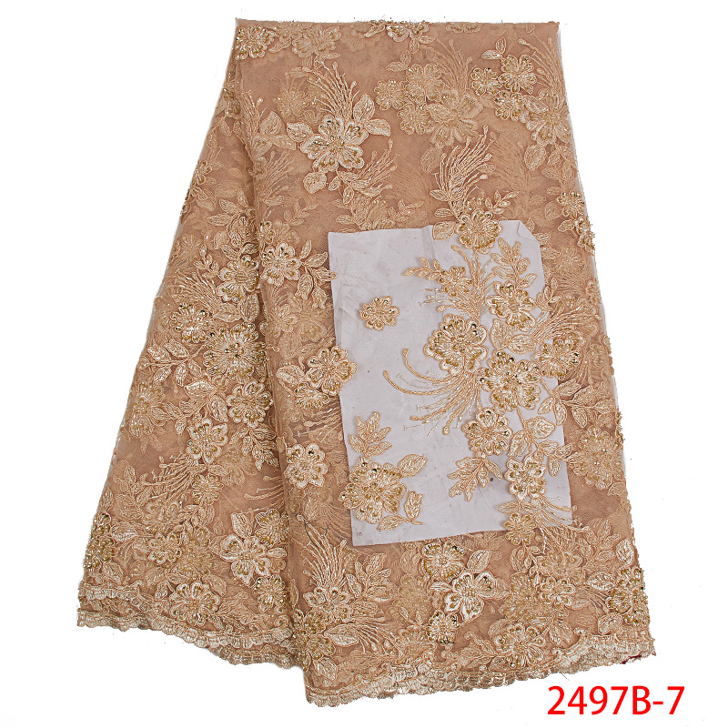2019 High Quality Nigerian Lace Fabric African Tulle Lace Fabric Luxury Lace Fabrics Handmade Beaded Lace