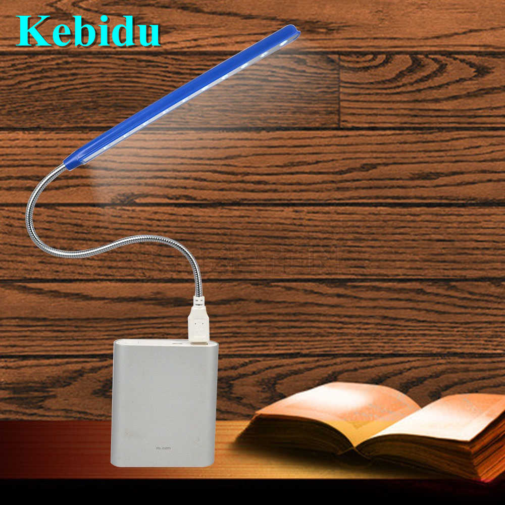 Kebidu Mini 10 LEDS USB Light Flexible Ultra Bright Metal Material Computer Reading Lamp For PC Laptop Computer Wholesale