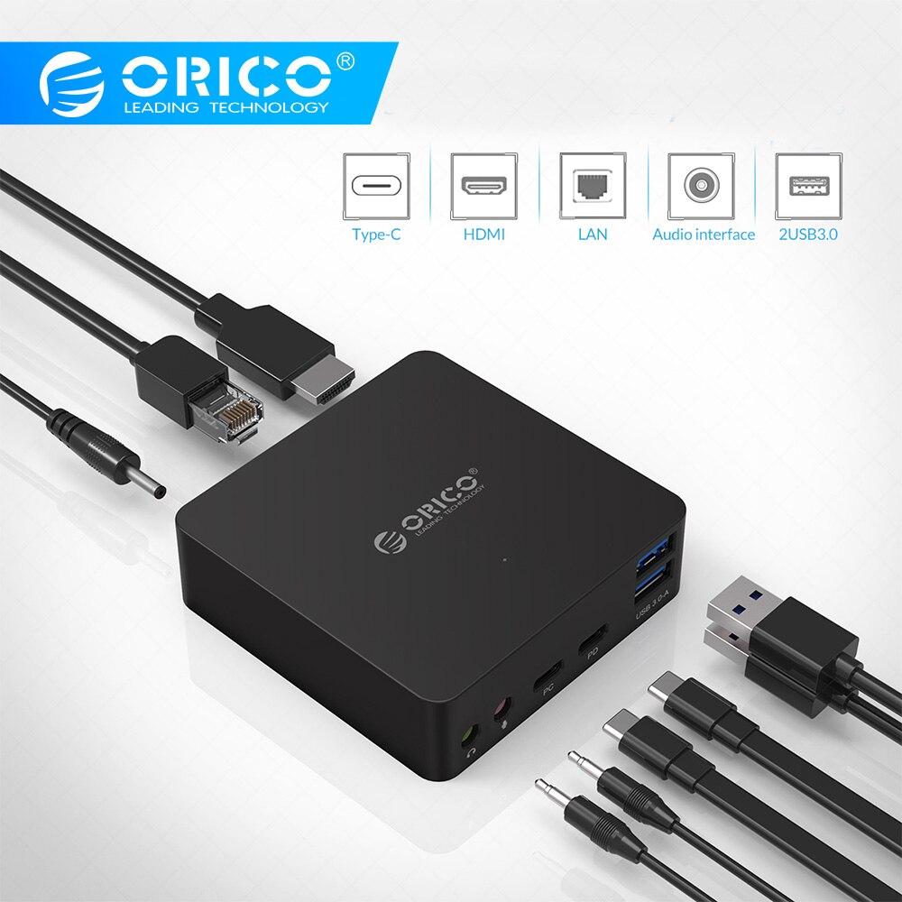 ORICO ADS4 type-c HUB USB3.0 HDMI multi-fonction hôte Mobile Dock d'extension RJ45 Microphone prise en charge type-c PD et DC 12V