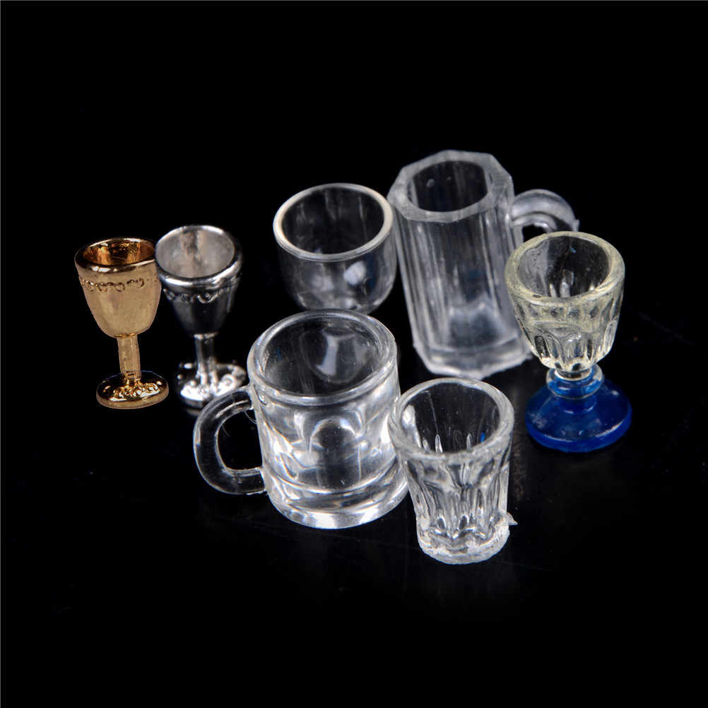 1/2Pcs glas Model DIY Parts 1:12 Schaal Plastic Transparante Beker Miniatuur Mini Wijn Bier Cup poppenhuis craft Home Decor