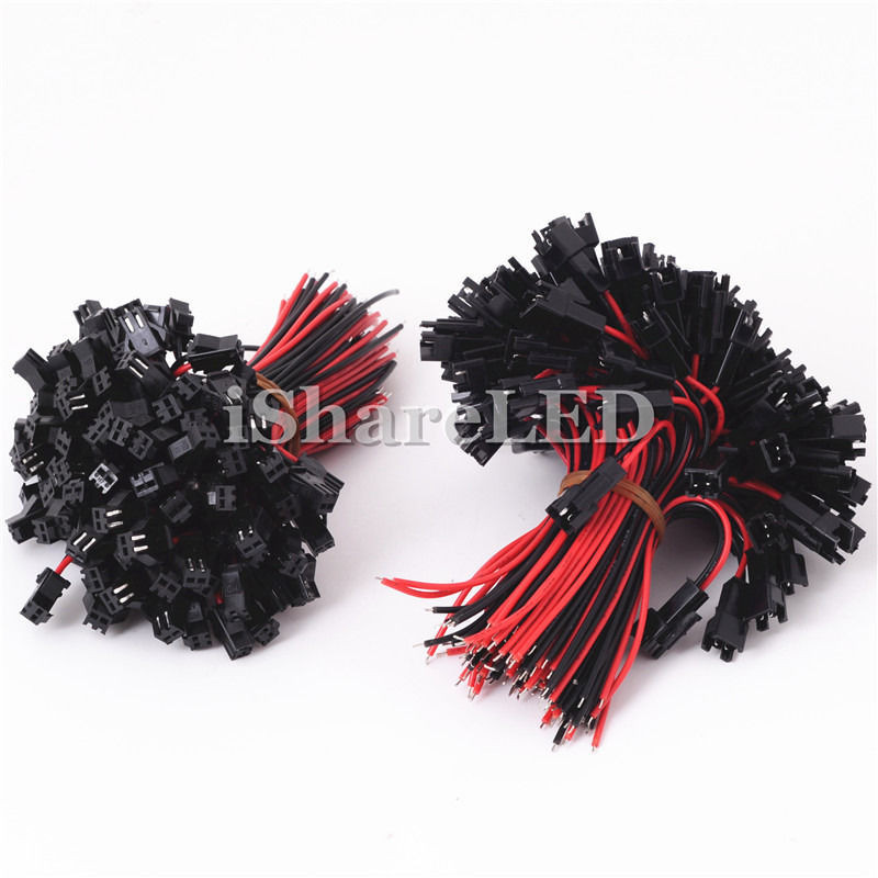 10-100Pairs JST SM 2Pin Plug Male and Female EL Wire Cable Connector For 3528 5050 Single color LED Light Strip