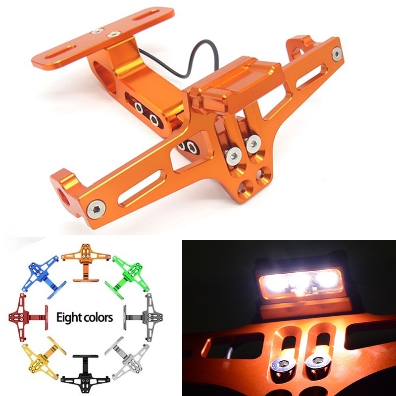 Motorcycle LED License Plate Holder Support Plaque Moto Bracket Frame For Fz6 Fz1 Benelli Trk 502 Tnt 125 Xmax 125 Buell Yamaha