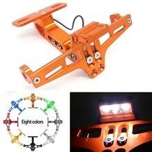 Motorrad LED Kennzeichen Halter Unterstützung Plaque Moto Halterung Rahmen Für fz6 fz1 benelli trk 502 tnt 125 xmax 125 buell Yamaha