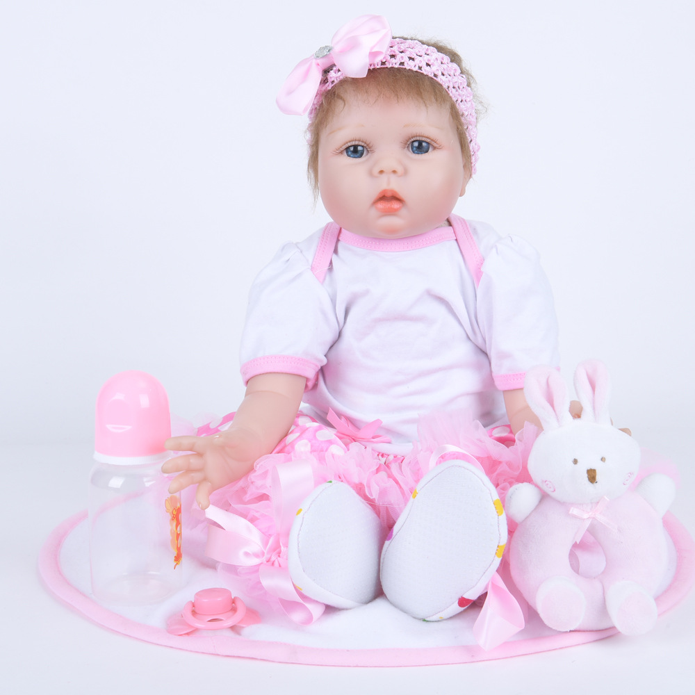 22 inches Silicone Reborn Doll Lovely Princess Newborn Baby Girl with Soft Cloth Body Toy for Kids Birthday Christmas Gift 22 inches realistic reborn girl doll soft silicone lovely princess newborn baby with cloth body toy for kids birthday xmas gift