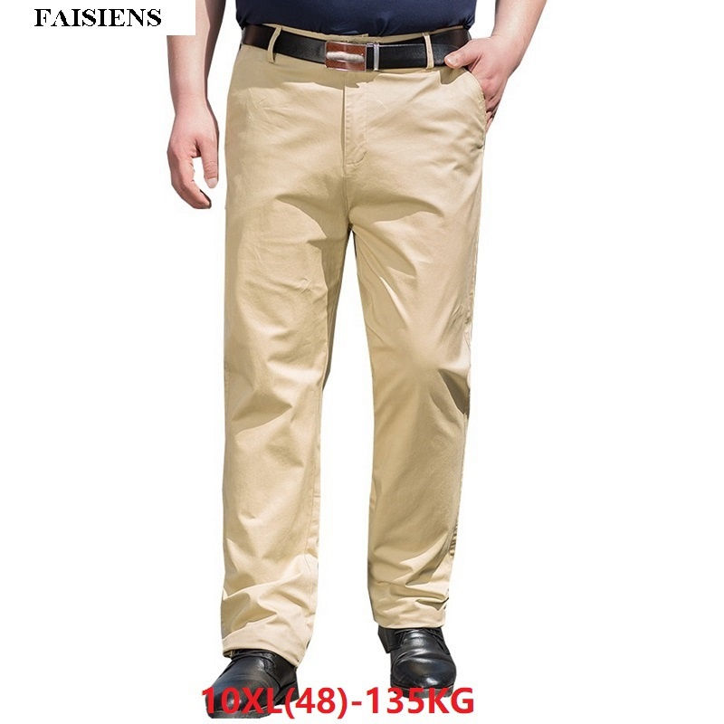 Men Pants Trousers Stretch Elasticity 9XL 10XL Loose Large Size Big Sale 7XL 8XL Men Classic Khaki Casual Office Pants 44 46 48
